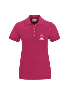 Damen-Polo-Shirt-Pink-Logo-Weiss